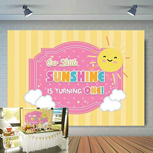 Allenjoy 7x5ft Our Little Sunshine is Turning One Kids 1st Birthday Party Backdrop You are My Sunshine Theme Decoration Supplies Baby Girl Photography Background Cake Table Banner Photo Booth Props