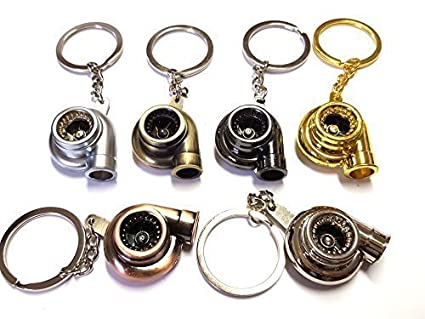silber 1x Turbo Lader Schl/üsselanh/änger aus Metall in 6 Farben Schl/üssel KFZ PKW G60 G40 VR6 16V Turbolader mit drehendem Schaufelrad Anh/änger ca 9,0 Lang /& 2,9 Breit