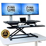 G-Pack Pro - Standing Desk Converter | Height Adjustable Stand Up Desk | Sit to Stand Rise Desk | Easy Adjustments | Tabletop Workstation fits Dual Monitor 27' | Large 37' (X37-Gas Spring)
