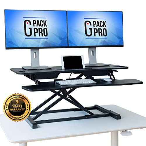- G-Pack Pro - Standing Desk Converter | Height Adjustable Stand Up Desk | Sit to Stand Rise Desk | Easy Adjustments | Tabletop Workstation fits Dual Monitor 27