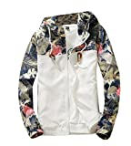 Product review for M2MO Mens Floral Long Sleeve Hooded Windbreaker Jacket White US L