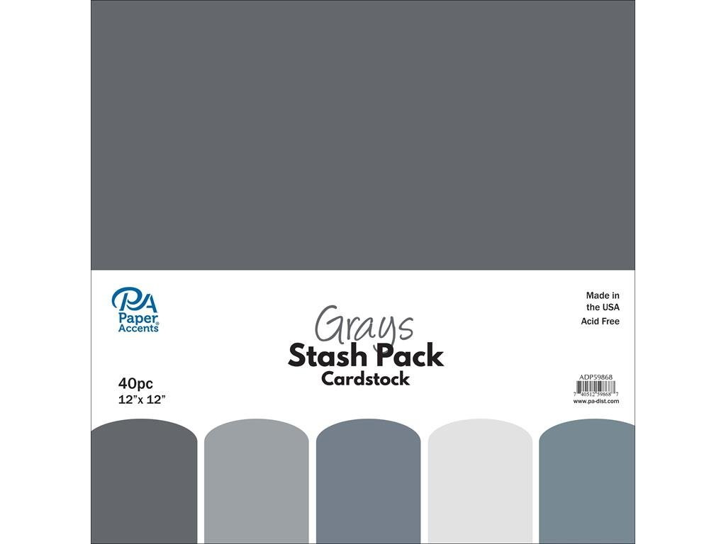 Paper Accents 40pc Stash Pack 12x12 Grays by Paper Accents