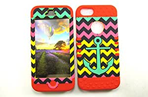 APPLE IPHONE 5 5S HEAVY DUTY HIGH IMPACT HYBRID COVER ANCHOR CHEVRON GREEN PINK YELLOW RD-TE627 CASE RED SILICONE SKIN