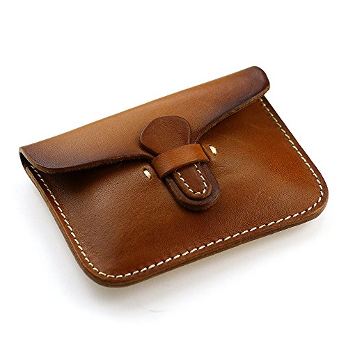 Handmade Slim Card Case Thin Soft Leather Front Pocket Wallet Minimalist KB01 (Brown)