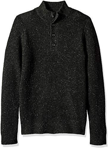 (Van Heusen Men's Long Sleeve Texture Block Button Mock Neck Soft Sweater, Black Heather X-Large)