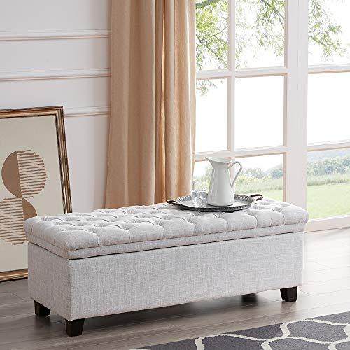BELLEZE 48 Rectangular Laguna Tufted Ottoman Footrest Fabric Large Storage Bench, White