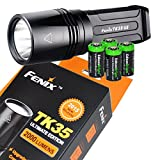 FENIX TK35 Ultimate Edition 2015 version (TK35UE) 2000 Lumen CREE XHP 50 LED Tactical Flashlight with 4 X EdisonBright CR123A Lithium batteries, Holster & Lanyard bundle
