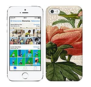 Purecase Iphone 5/5s Hybrid Tpu Case Cover Silicon Bumper PEONY Flower Print Antique 1800's Book Page