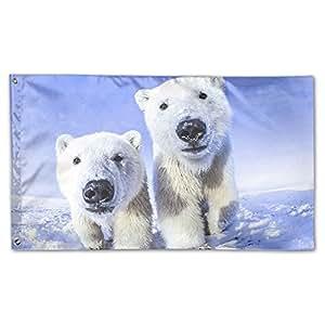 """Nicokee Animales oso polar hogar jardín Patio Banderas 59""""x35 Indoor-Outdoor caída de bandera de poliéster banderas banners de pared decoración"""