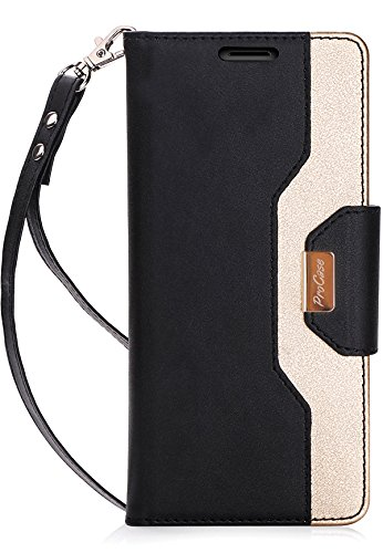 ProCase iPhone X Wallet Case, Flip Kickstand Case with Card Slots Mirror Wristlet, Folding Stand Protective Cover for Apple iPhone X / iPhone 10 (2017 Release) -Black