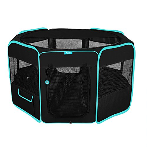 (Deluxe Premium Pet Dog Playpen Portable Soft Dog Exercise Pen Kennel with Carry Bag for Dogs, Cats, Kittens, and All Pets (Large, Black))