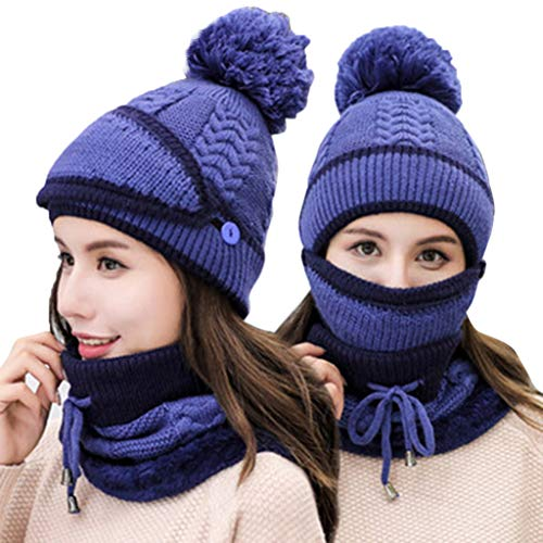 Vovomay Womens Winter Beanie Hat and Scarf Set Warm Knitted Cap with Scarf Unisex (Blue)