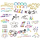 BodyJ4You 120 PCS Body Piercing Lot Belly Ring Labret Tongue Eyebrow Tragus Barbells 14G 16G RANDOM Mix Jewelry