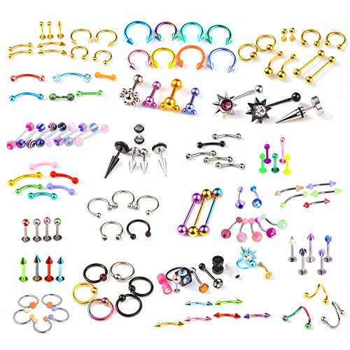 Barbells Rings 16g Body Jewelry (BodyJ4You 120 PCS Body Piercing Lot Belly Ring Labret Tongue Eyebrow Tragus Barbells 14G 16G RANDOM Mix Jewelry)