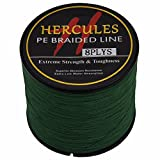 HERCULES 500m 547yds Green 10lbs-300lbs Pe Braided Fishing Line 8 Strands (30lb/13.6kg 0.28mm) For Sale