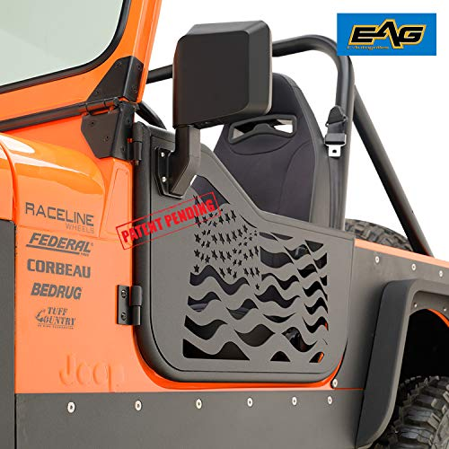EAG US Flag Tubular 2 Door with Reflection Mirror Fit for 81-96 Jeep CJ7 / YJ Wrangler