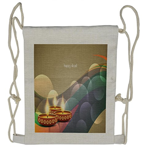 Lunarable Diwali Drawstring Backpack, Circles and Leaves Waves, Sackpack Bag by Lunarable