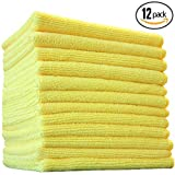(12-Pack) 16 in. x 16 in. Commercial Grade All-Purpose Microfiber HIGHLY ABSORBENT, LINT-FREE, STREAK-FREE Cleaning Towels - THE RAG COMPANY (Yellow) by THE RAG COMPANY