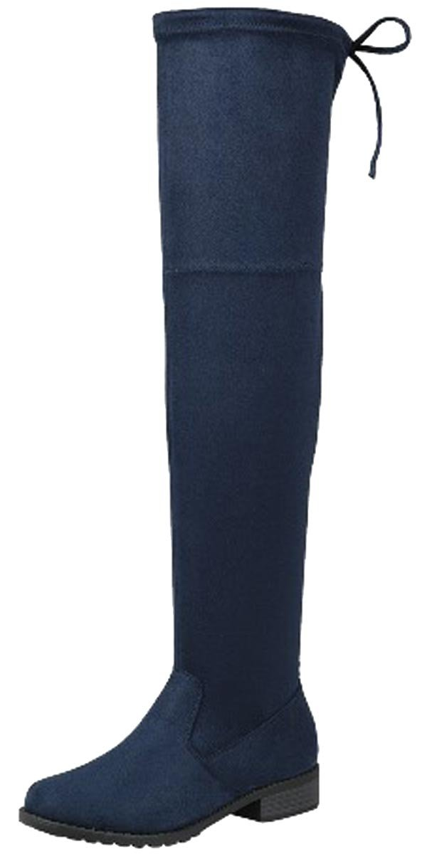 Forever Link Women's Over The Knee Thigh High Flat Boot (7.5 B(M) US, Navy)