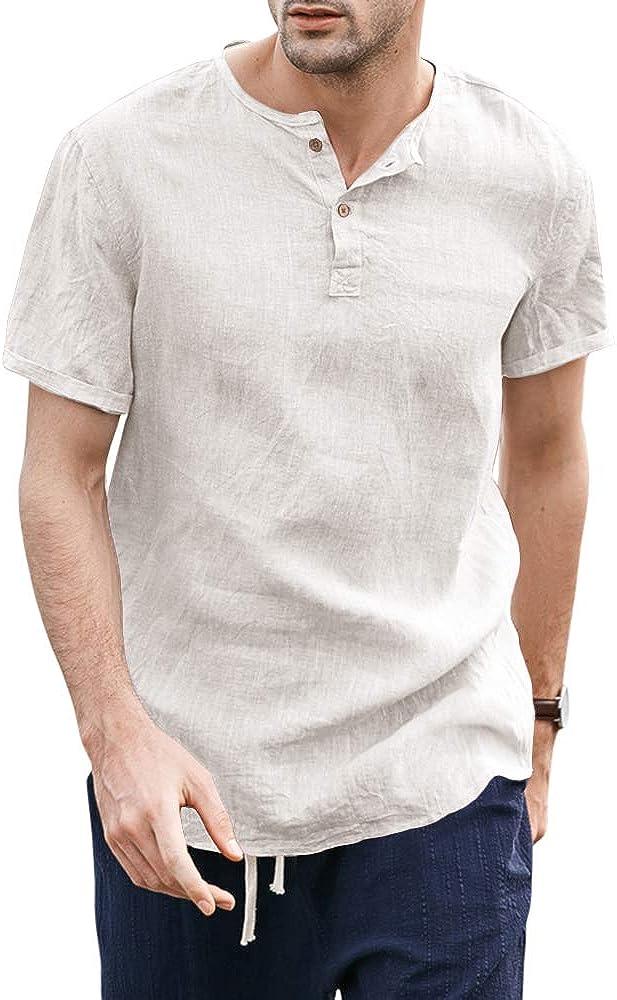 Taoliyuan Mens Linen Henley Shirt Short Sleeve Mandarin Collar Summer Beach Casual Frog Button Retro Blouse Shirt