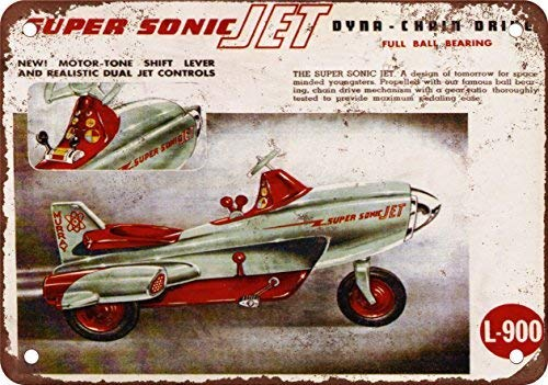 - FemiaD 1955 Super Sonic Jet Pedal Car Vintage Look Reproduction Metal Tin Sign 12X8 inches