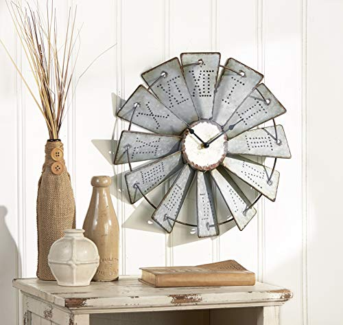 Wagon Wheel Clock (The Lakeside Collection Metal Windmill Wall Clock with Distressed Finish and Roman)