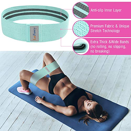 LotFancy Hip Resistance Bands, Pack of 3, Loop Booty Bands for Women Leg and Butt, Non-Slip Circles Glutes Fabric Exercise Bands for Fitness, Workout, Squat - Green, Pink, Purple