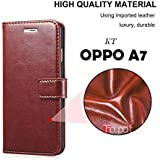 KT Oppo A7 Flip Cover Leather Flip Cover Wallet case Card Holder case with Inside Shock Proof TPU Back Case Cover - Brown