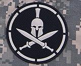 PVC Spartan Helmet Crossed Swords Morale Patch Large Swat