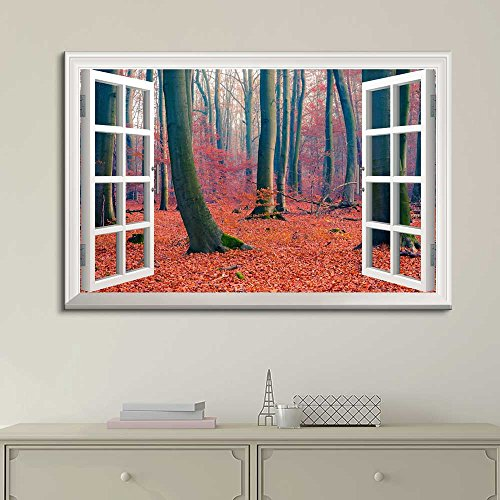 White Window Looking Out Into a Forest During Fall Time