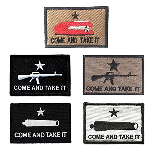 Antrix 5 Pack Mix Color Tactical Come and Take It Patches Te