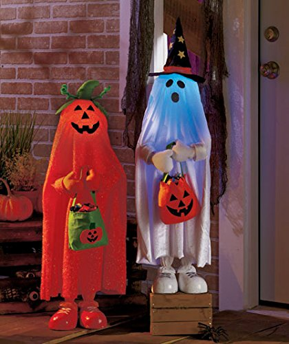 Set of 2 Lighted Color Changing Halloween Trick or Treaters Pumpkin & Ghost Kids Greeters Haunted House -