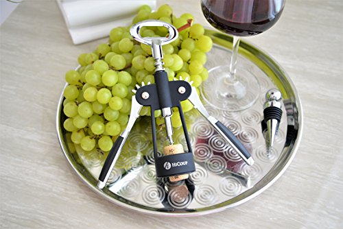 Wing Corkscrew Wine Opener by HiCoup - All-in-one Wine Corkscrew and Bottle Opener With Bonus Wine Stopper in a Deluxe Presentation Box by HiCoup Kitchenware (Image #4)