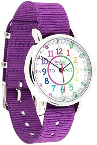 EasyRead Time Teacher Children's Watch, 'Minutes Past' and 'Minutes To', Rainbow Colors / Purple Strap