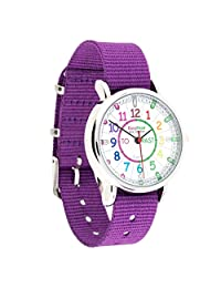 EasyRead Time Teacher Children's Watch, Minutes Past' and 'Minutes to', Rainbow Colours/Purple Strap