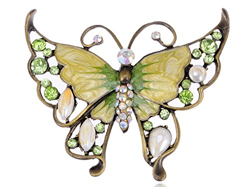 Alilang Antique Inspired Shiny Green Crystal Rhinestones Enamel Opal Butterfly Insect Brooch Pin