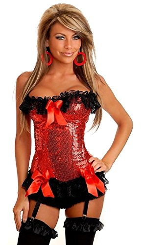 Frank The Bunny Costume Authentic (Daisy Corsets Red Underwire Sequins Corset Lingerie sm-xl Sexy Costume Accessory)