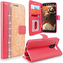 LG V10 Case, Cellularvilla [Diamond] Embossed Flower Design Premium Pu Leather Wallet Case [Card Slot] [Stand Feature] Flip Protective Cover for LG V10 (2015) (Peach Pink Bling)