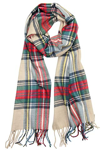 Achillea Scottish Tartan Plaid Cashmere Feel Winter Warm Scarf Unisex (Scottish Light Camel Tartan)