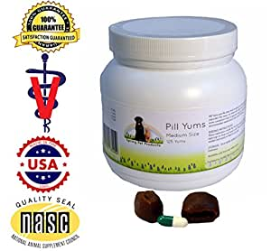 Pill Yums ~ Tasty Pocket Treat to Hide Your Pet's Medication ~ Simply Insert Pill or Capsule in Chewy Hole, Pinch the Ends Closed and Give As a Treat to Your Dog or Puppy ~ Recommended by Veterinarians Medium 125 Count