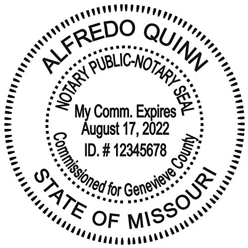 Round Notary Stamp for State of Missouri- Self Inking Stamp - Top Brand Unit with Bottom Locking Cover for Longer Lasting Stamp - 5 Year Warranty