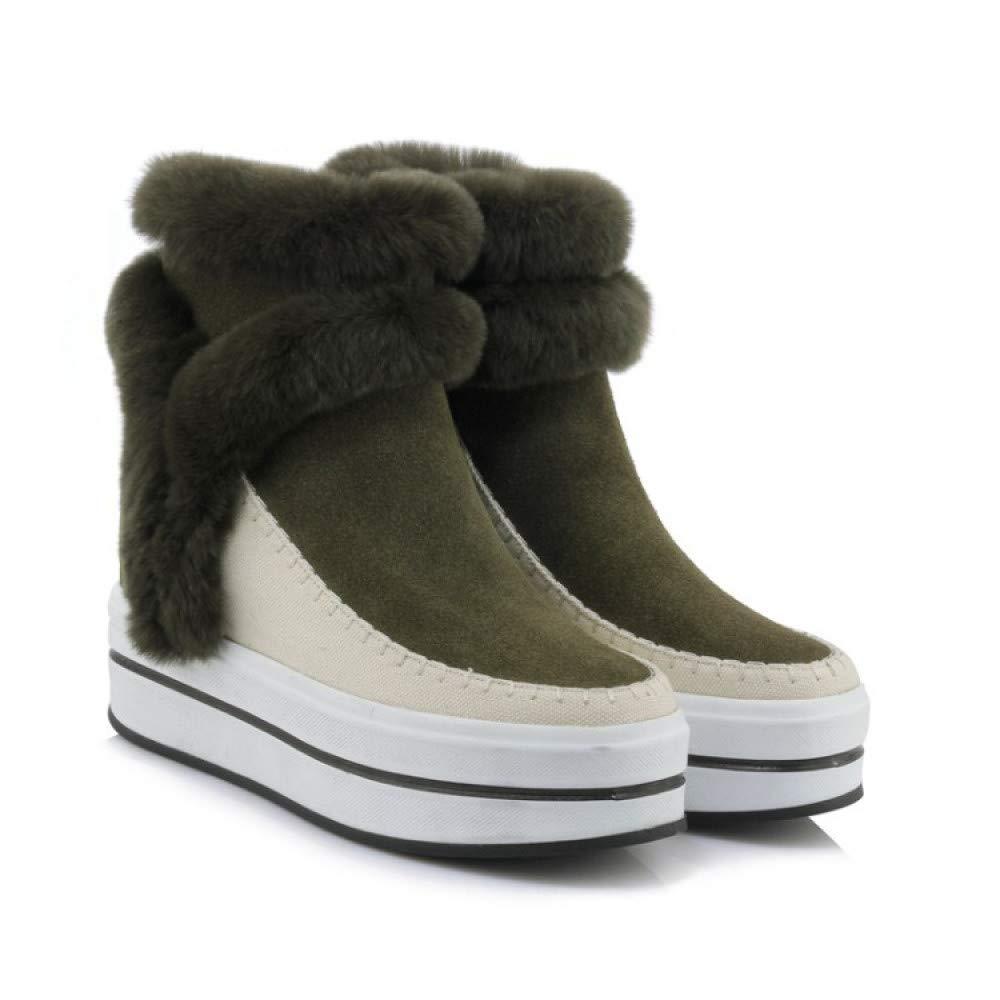 LOLIVEGO Schneestiefel Herbst Und Winter Schnee Stiefel Warme Persönlichkeit Niet Quadratischen Kopf Keil Kurze Stiefel Frauen