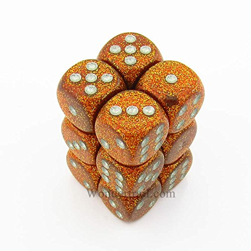Chessex Dice d6 Sets: Glitter Gold // Silver 12 16mm Six Sided Die Block of Dice