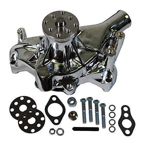 Long Water Pump Chrome High Volume for SBC Small Block Chevy 350 383 (1985 Chevy Truck Water Pump)