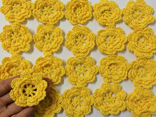 PEPPERLONELY Brand 20PC Yellow Gold Eight Petals 2 Inch Crocheted Flower Appliques ()