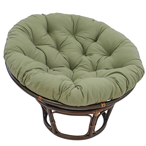 Blazing Needles Solid Twill Papasan Chair Cushion, 52″ x 6″ x 52″, Sage