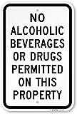 no alcoholic beverages - SmartSign by Lyle K-1217-AL-12x18 No Alcoholic Beverages or Drugs Permitted Aluminum Sign, 18
