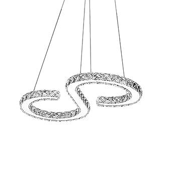36W LED Deckenlampe Pendelleuchte Lüster Wohnzimmer Lampe Kristall Dimmbar Büro