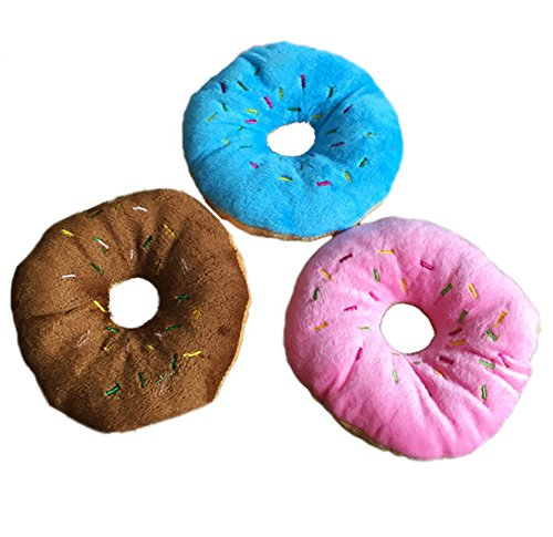 (Freedi Donuts Squeaky Plush No-Stuffing Dog Toy Soft Toss Ring Dog Fetch and Play Toy Puppy Chew Throw Cotton Wool Donuts Toy)
