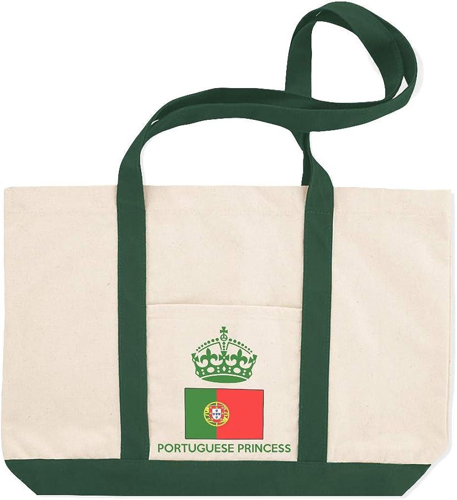 Canvas Shopping Tote Bag Portuguese Princess Crown Countries Beach Bags for Women